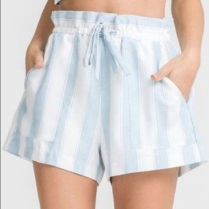 LUSH White Light Blue Striped Paperbag Shorts
